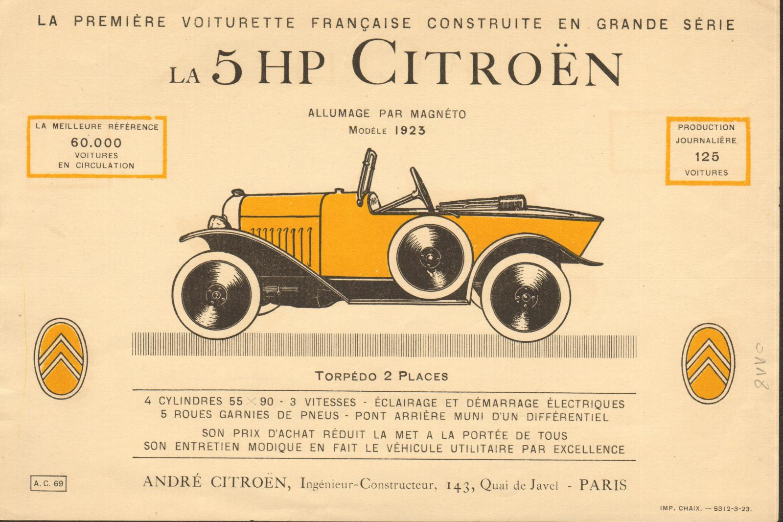 Brochure Citroen 5 HP 1923